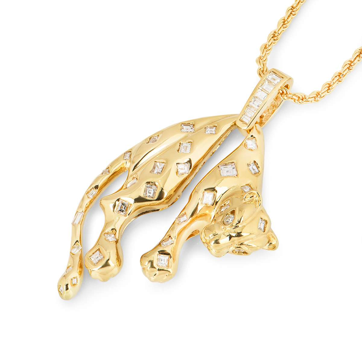 Yellow Gold and Diamond Panthera Pendant